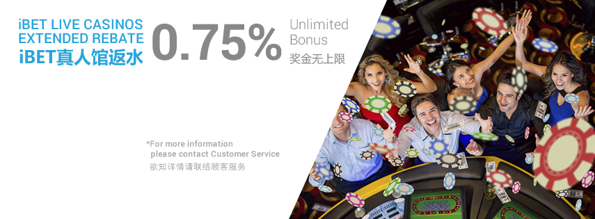 Live Casino Unlimited REBATE Bonus 0.75%!