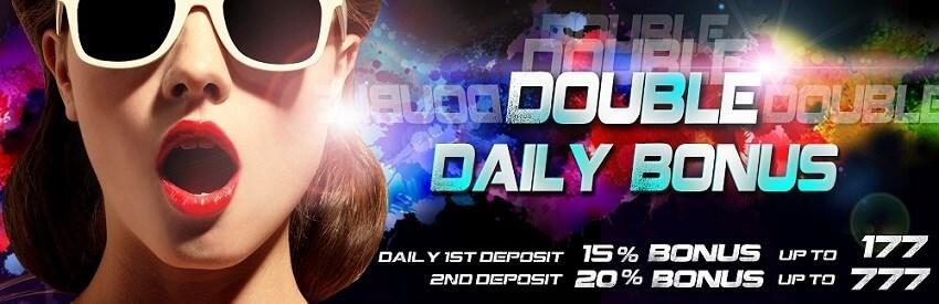 Arena777 Casino Malaysia Double Daily Bonus.