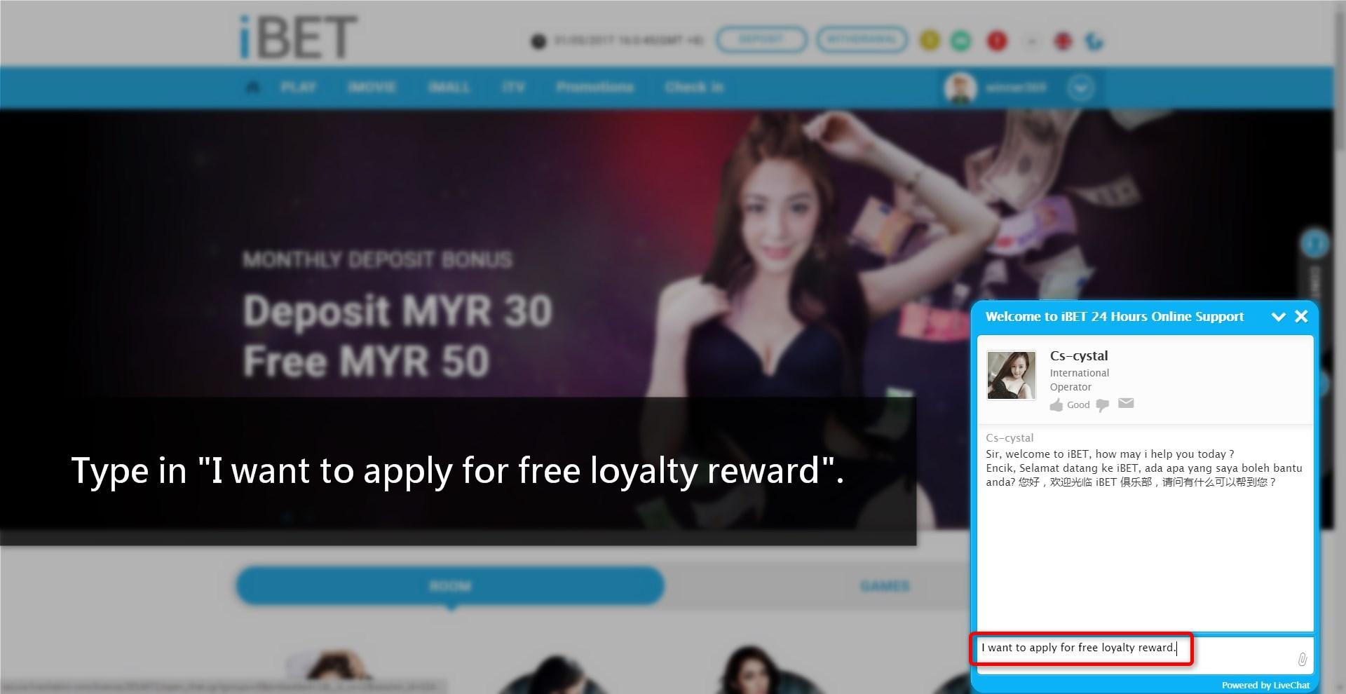 Casino MalaysiaHow to get iBETs FREE loyalty reward